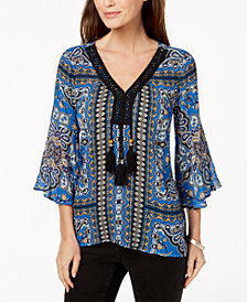 John Paul Richard Petite Printed Tasseled Top