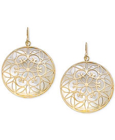 Mother-of-Pearl Filigree Medallion Drop Earrings in 14k Gold