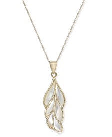 """Mother-of-Pearl Leaf 18"""" Pendant Necklace in 14k Gold"""