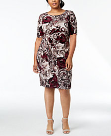Connected Plus Size Paisley Draped Faux-Wrap Dress