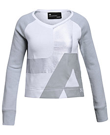 Under Armour Big Girls Rival Cropped Graphic-Print Sweatshirt