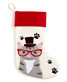 Holiday Lane Cat with Glasses & Hat Stocking, Created for Macy's