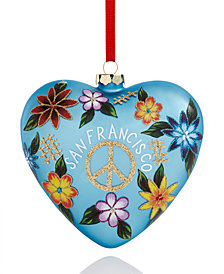 Holiday Lane San Francisco Peace Floral Heart Ornament, Created for Macy's