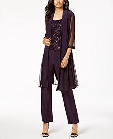 R & M Richards Sequin-Embellished 3-Pc. Pantsuit