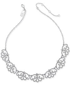 "I.N.C. Silver-Tone Pavé Openwork Collar Necklace, 16"" + 3"" extender, Created for Macy's"