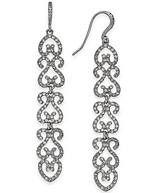 INC Silver-Tone Pavé Openwork Linear Drop Earrings, Created for Macy's