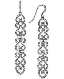 I.N.C. Silver-Tone Pavé Openwork Linear Drop Earrings, Created for Macy's