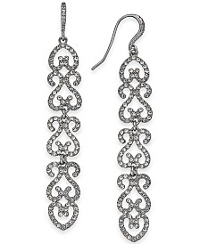 I.N.C. Silver-Tone Pavé Openwork Linear Drop Earrings, Created for Macy's