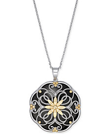 "Onyx Filigree Floral Disc 18"" Pendant Necklace in Sterling Silver & 14k Gold"