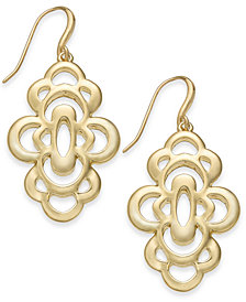 Charter Club Gold-Tone Openwork Flower Drop Earrings, Created for Macy's