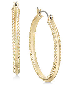 Charter Club Gold-Tone Rope-Edge Hoop Earrings, Created for Macy's