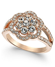 Charter Club Rose Gold-Tone Crystal Flower Ring, Created for Macy's