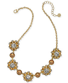 "Charter Club Gold-Tone Stone & Crystal Cluster Pinwheel Cluster Collar Necklace, 17"" + 2"" extender, Created for Macy's"