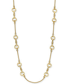 "Charter Club Gold-Tone Horse-Bit Station Statement Necklace, 42"" + 2"" extender, Created for Macy's"