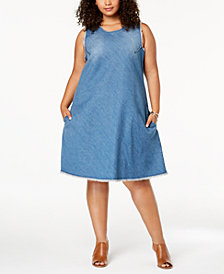 Style & Co Plus Size Cotton Raw-Hem Denim Swing Dress, Created for Macy's