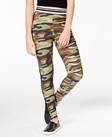 Planet Gold Juniors' Striped Camouflage-Print Leggings