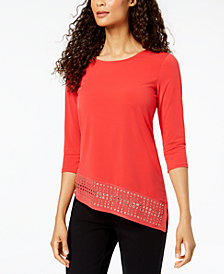JM Collection Petite Studded Asymmetrical Tunic, Created for Macy's