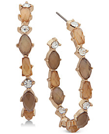 lonna & lilly Gold-Tone Crystal & Stone Open Hoop Earrings