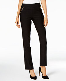 JM Collection Petite Zippered-Pocket Straight-Leg Pants, Created for Macy's
