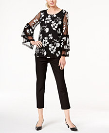 Alfani Printed Bell-Sleeve Top & Cropped Slim-Leg Pants, Created for Macy's