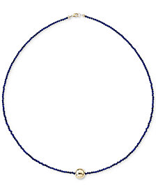 "Lapis Lazuli (2mm) & Gold Bead 18"" Collar Necklace in 14k Gold (Also in Black Spinel) in 14k Gold"