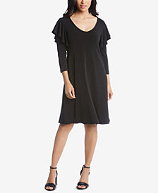 Karen Kane Ruffle-Shoulder A-Line Dress