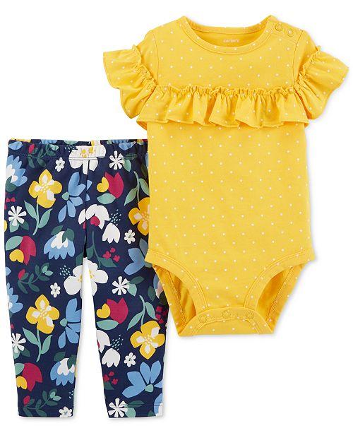 b583c554e8dff Carter s Baby Girls 2-Pc. Cotton Bodysuit   Floral-Print Pants Set ...