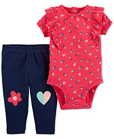 Carter's Baby Girls 2-Pc. Cotton Floral-Print Bodysuit & Pants Set