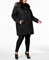 a67de5a7825 Kenneth Cole Plus Size Faux-Fur-Trim Quilted-Panel Puffer Coat