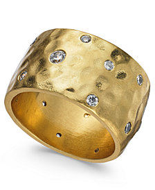 kate spade new york Gold-Tone Crystal Wide Ring