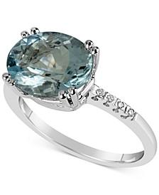 Aquamarine (3 ct. t.w.) & Diamond Accent Ring in 14k White Gold
