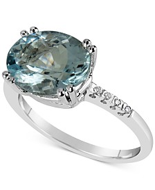 Aquamarine (3 ct. t.w.) & Diamond Accent Ring in 14k White Gold