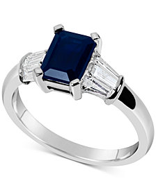 Sapphire (1-3/4 ct. t.w.) & Diamond (1/3 ct. t.w.) Ring in 14k White Gold