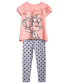 Disney Little Girls 2-Pc. Minnie Mouse Ruffle-Trim T-Shirt & Leggings Set