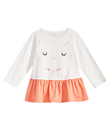 First Impressions Baby Girls Kitty-Print Cotton Peplum Tunic, Created for Macy's