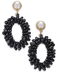 I.N.C. Gold-Tone Bead & Imitation Pearl Drop Hoop Earrings, Created for Macy's