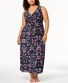 I.N.C. Plus Size Floral-Print V-Neck Nightgown, Created for Macy's