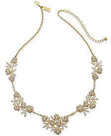 "kate spade new york Gold-Tone Crystal Flower Collar Necklace, 16"" + 3"" extender"