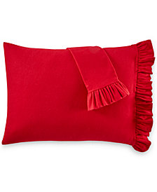 Martha Stewart Collection Ruffle Cotton Flannel Pair of Standard Pillowcases, Created for Macy's