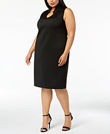 Calvin Klein Plus Size Ruffled-Collar Sheath Dress