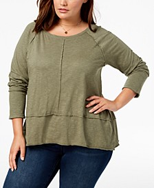 Plus Size Seamed High-Low Top, Created for Macy's
