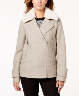 LAUNDRY BY SHELLI SEGAL Wool-Blend Long-Sleeve Moto Jacket With Faux-Fur in Gray