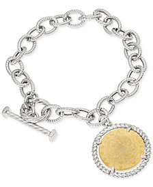 Giani Bernini Two-Tone Coin Charm Toggle Bracelet in Sterling Silver & 18k Gold-Plate, Created for Macy's
