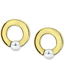 "Giani Bernini Small Two-Tone Doorknocker Stud Earrings in Sterling Silver & 18k Gold-Plate, 0.6"", Created for Macy's"