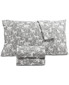 Martha Stewart Collection Printed 100% Cotton Flannel 3-Pc. Twin XL Sheet Set, Created for Macy's