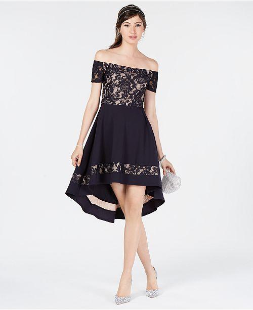 d6435a0b29c City Studios Juniors  Off-The-Shoulder High-Low Dress   Reviews ...