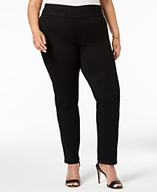 Plus Size Pull-On Stretch Straight-Leg Jeans, Created for Macy's