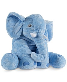 "Trademark Global Happy Trails Plush Blue Elephant Stuffed Animal Pillow, 19"" x 17"" x 17"""