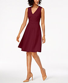 Calvin Klein V-Neck Scuba Fit & Flare Dress