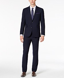 Men's Slim-Fit Ready Flex Stretch Navy Plaid Suit